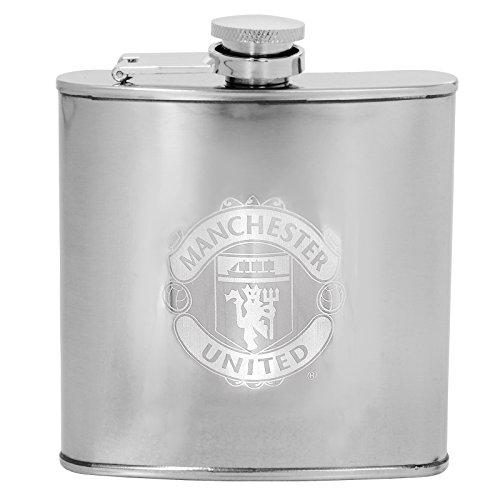 Manchester United FC – Lasergegraveerde verchroomde heupfles – Officiële cadeauverpakking – Zilver effen
