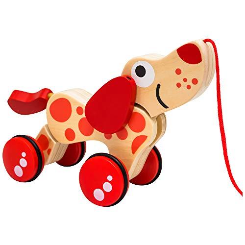 Natureich Cane Bassotto - Giocattolo in Legno da Tirare / Animale in Legno da Tirare Cane per Bambini dai 36 Mesi (Bassotto)
