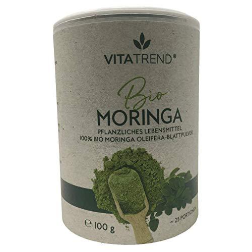 vitatrend Polvo de moringa orgánico, bote de 100 g, polvo de hoja de Oleifera