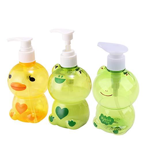 bibididi Dispensador de jabón portátil de 250 ml para niños, Lindo Animal, Forma de Rana/Pato, Tipo de Prensa, Botella de Bomba vacía Dividida, contenedor de Ducha de champú, Color Aleatorio