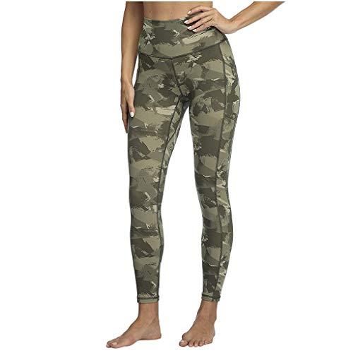 Lazzboy Damen Sport Hoch Taillierte Yoga Hose Camouflage Print Leggings Pocket Activewear Leggins Blickdicht Sporthose Yogahose Streetwear(Grün,L)