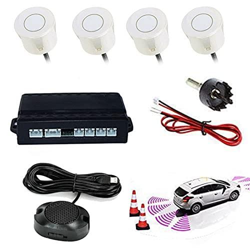HEZHU Weiß Einparkhilfe 4 Sensoren Hinten Rückfahrwarner Parksensor Parkhilfe PDC