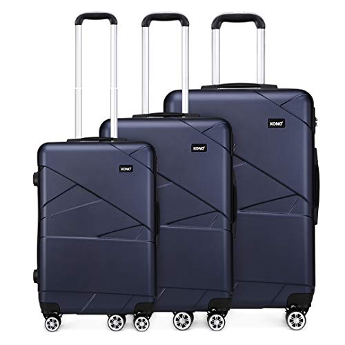 Kono Luggage Sets 3 Piece Lightweight 20/24/28 Inch Hard Shell ABS Travel Trolley Suitcase 55cm/67cm/76cm (Navy)