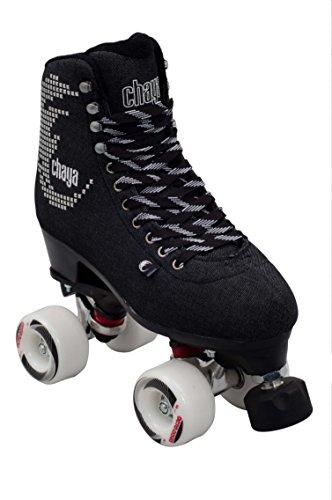 chaya Noir Retro Rollschuhe Disco Roller Jeans schwarz schwarz, 36
