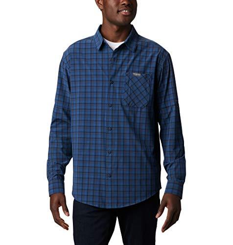 Columbia Triple Canyon Camiseta de manga larga para hombre, Azul (Bright Indigo Mini Tonal Plaid), M
