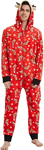 Family Matching Christmas Pajamas Set Onesies with Cute Reindeer Graphics Hooded Men L