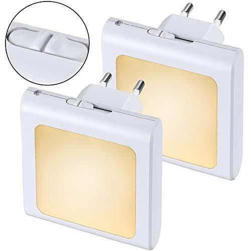 Anpro Nachtlicht, LED, dimmbar, ABS, 0,5 W, Wandmontage, Plug-and-Play, Warmweiß, mit Dämmerungssensor, Beleuchtung für Kinder- und Babyzimmer, Wohnzimmer, Garage, Flur