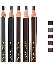 Pinkiou wenkbrauwpotloodset, bruin, donkerbruin, lichtbruin, zwart, grijs, afpelbaar, waterdicht (5 stuks)
