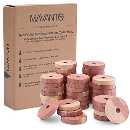 MAVANTO® 48x Effektiver Zedernholz Mottenschutz für Kleiderschrank & Kleiderbügel - 100% natürliche Mottenfalle - inkl. GRATIS Schleifpapier