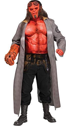 shoperama 5-teiliges Original Hellboy Herren-Kostüm Gr. L/XL Comic Film Dämon Red FBI Steinhand Muskelpaket Hörner Rasputin