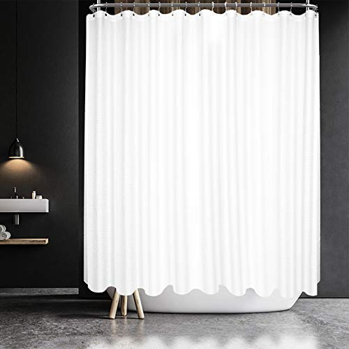 Waffle Weave Clawfoot Tub Shower Curtain 180 x 70 Inch Wrap Around - Heavy-Weighted Fabric to Stop Blowing, Washable, Water Repellent, with 36 Hooks Set, White, 180x70