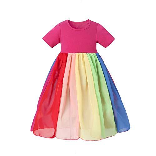 Vestido arcoiris para niñas Niños pequeños Niños Niños Vestido de tul de verano Cumpleaños Princesa Faldas Diseño de una pieza