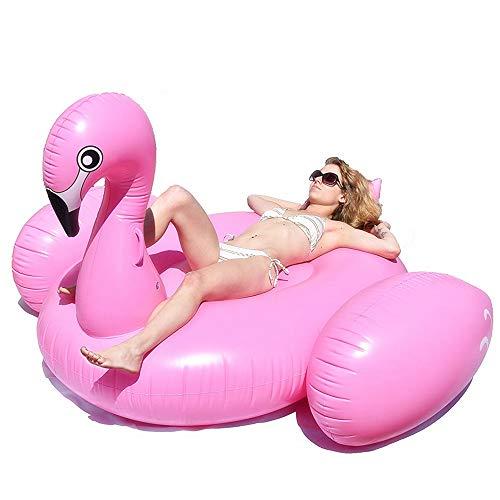 SKY TEARS Riesiger Aufblasbarer Flamingo Rosa Pool Schwimmtier Aufblasbare Floß Schwimmen PVC Pool Party Wasser Spielzeug mit Schnellen Ventilen (Rosa Flamingo