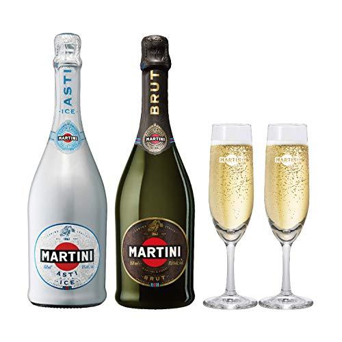 【Amazon.co.jp限定】 マルティーニ フルートグラスセット アスティアイス・ブリュット [ スパークリングワイン 甘口 イタリア 750ml×2本 ]