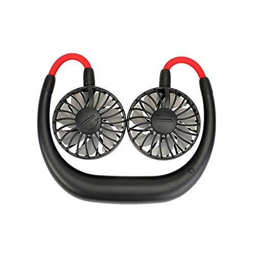 Tragbare Ventilator, 360 ° Drehventilator Sportfan USB Fan Handsfree USB Nackenbügel Fan Lüfter Reiselüfter, für Wandern, Klettern, Sommer Outdoor Sport, 3 Stufen, Lüfter mit 2000mAh Akku (Schwarz)