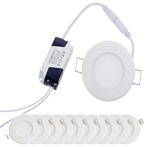 [10 Stück] MIWOOHO 3W Ultraslim Slim LED Panel Rund Einbaustrahler Einbauleuchte Deckenstrahler Deckenleuchte Deckenlampe Einbau Lampe 225Lumen AC 85-265V inkl.Trafo (3W Warmweiß)