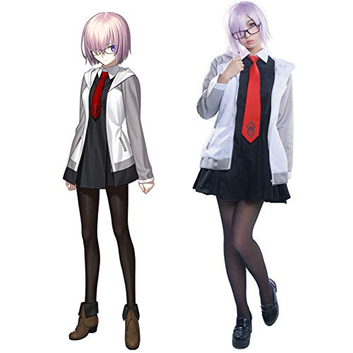 THWJSH Anime Mash Kyrielight JK Dress Sirviente Cosplay Disfraz Anime Faldas Anime Cosplay Delantal de criada, incluyendo: abrigo + falda larga + corbata + calcetines + gafas + peluca + red de pelo XL