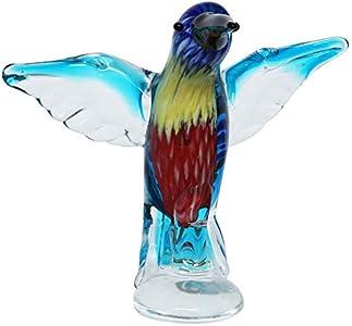 Figura de Cristal Vidrio colibrí pájaro Estilo Antiguo Murano 25cm