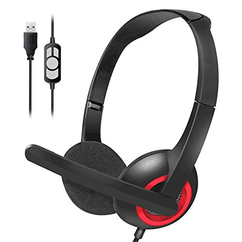 ENTBI USB Headset mit Mikrofon, USB Wired PC Kopfhörer Ultraleicht & Komfort mit Noise Cancelling & Audio Controls für Callcenter/Büro/Konferenzanrufe/Online Course Chat/Skype (Red)