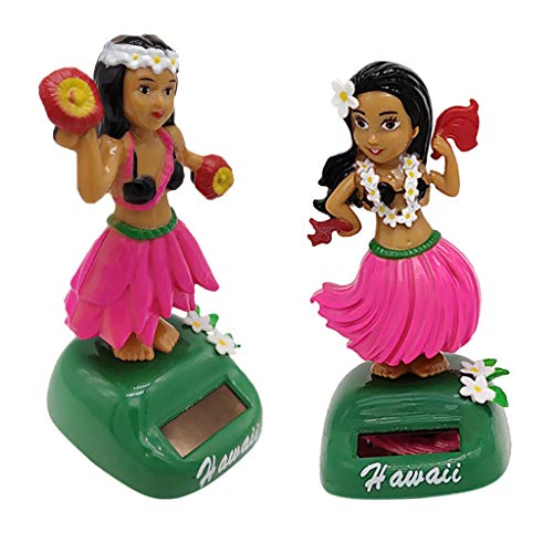 F Fityle 2er-Set Solar Wackelfigur Solarbetriebenes Spielzeug Dekofigur mit Hula Girl Figur, aus Plastik