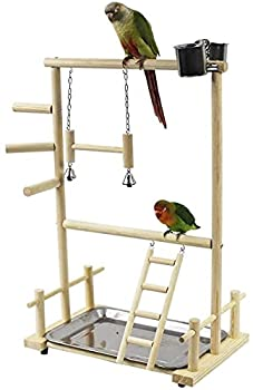 BERTY·PUYI Perroquets Playstand Bird Aire De Jeux Bois Perche Gym Stand Parc Échelle avec Jouets Exercice Playgym pour Conure Lovebirds