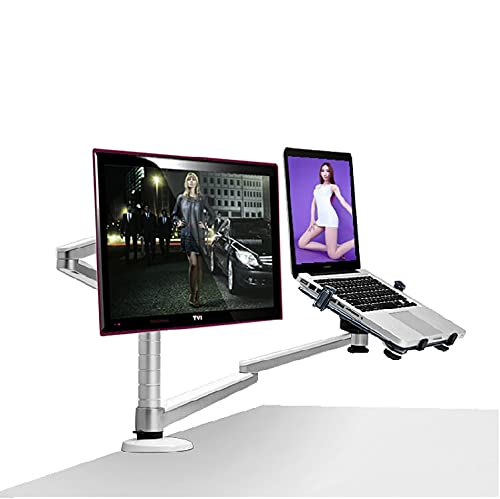 Henxiyi Multimedia Desktop Dual Arm Aluminum Alloy Notebook Stand Holder for 10-15 inch Laptop+Monitor Max 27 inch LCD Dual Arm Universal Rotation Stand Dual Monitor Mount