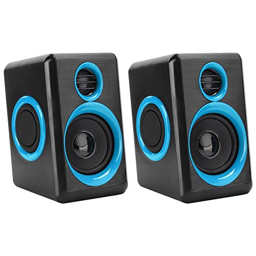 Yctze Mini Speaker Powered Stereo Multimedia box Small Laptop Speaker with Hi-Quality Sound, Loud Volume for PCs, Desktop Computer and Laptops(Black blue)
