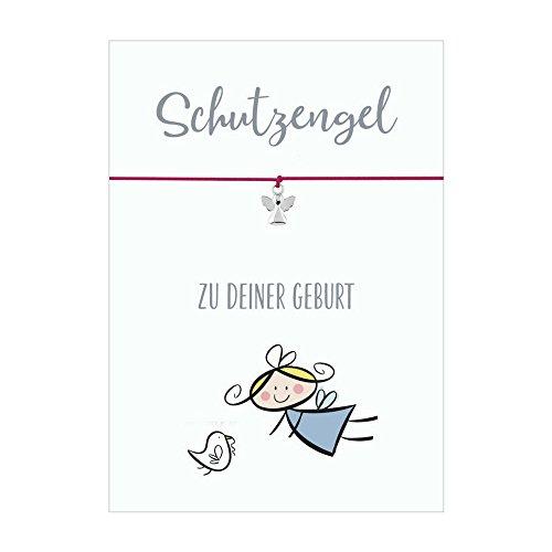 Glücksschmiedin Schutzengel ZUR Geburt Armband mit Anhänger Schutzengel versilbert, elastischem Textilband in pink und liebevoller Karte
