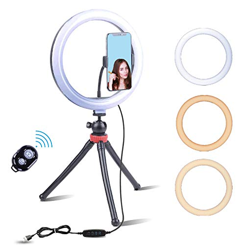 "Fugetek 10"" LED Selfie Ring Light with Flexible Desktop Phone Tripod, FT-429, 3 Color Modes, Premium Adjustable Camera Stand, Flexible Legs, Wireless Bluetooth Remote, USB Powered"