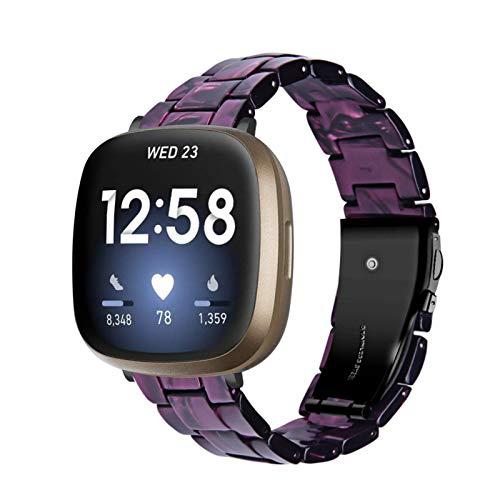 BFISOD Versa 3Uhrenarmbänder, Resin Ersatz Armbänder Faltsichte Armband Damen Herren Verstellbares Zubehörband WatchBand für Fitbt Versa 3 / Versa Sense Smart Watch (A06)
