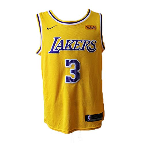 Herren Basketball Trikots NBA Lakers # 3 Anthony Davis Gestickte Mesh Swingman Hemd (M)