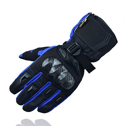 MADBIKE RACING EQUIPMENT Guantes de Moto de Invierno Guantes de Moto de protección de Fibra de Carbono con Pantalla táctil Guantes Deportivos (Azul, L)