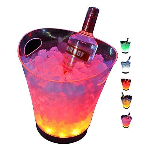 Mr.LQ Cubo De Hielo LED 5L Enfriador De Cubo De Hielo con Cambio De Color De Gran Capacidad para Bar Utilizado para KTV Party Bar, Home Wedding Banquet, Bar