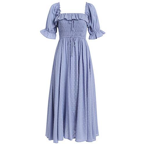 R.YIposha Women Vintage Elastic Square Neck Ruffled Half Sleeve Summer Backless Beach Flowy Maxi Dresses,12-14,Blue