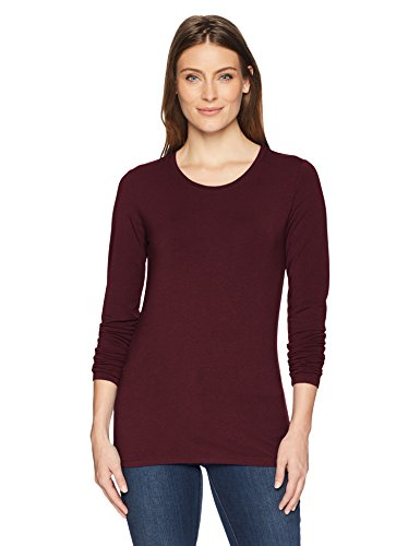 Amazon Essentials Women's Classic-Fit Long-Sleeve Crewneck T-Shirt, Burgundy, X-Large