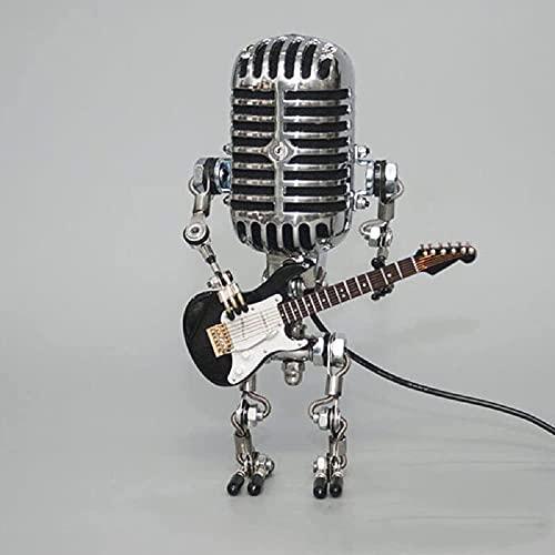 Robot Microfono In Metallo Lampada Da Tavolo Robot Microfono Retrò In Metallo Microfono Vintage Lampada Dimmer Tattile Robot Lampada Da Tavolo Robot Camera Da Letto, Decorazione Della Stanza (stile 2)