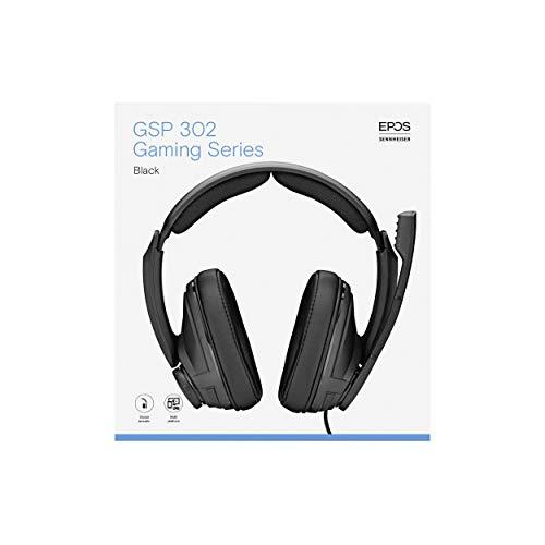 EPOS I Sennheiser GSP 302 Gaming Headset Kopfhörer Geräuschunterdrückendes Mikrofon Flip-to-Mute, Ergonomisch, Ohrpolster Kompatibel mit PC Mac PS4 PS5 Xbox Series X Xbox One Nintendo Switch, Schwarz