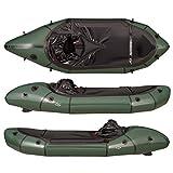 MRS マイクロラフト Microraft 一人用 スプレイデッキ付き 折り畳み パックラフト インフレータブル ボート (緑, L)