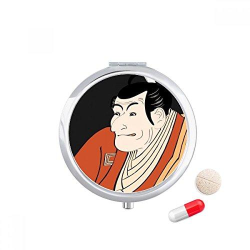 DIYthinker Japanse Stijl Ukiyoe Man Kimono Reizen Pocket Pill case Medicine Drug Opbergdoos Dispenser Spiegel Gift