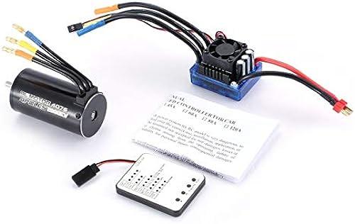 Gugutogo 4076 2000KV 4 pÃles Sensorless Brushless Motor 120A ESC with LED Programming Card Combo Set for 1 8 RC Car Truck