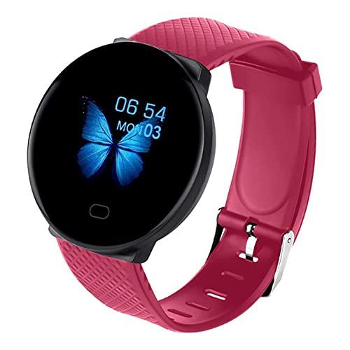zyz D19 Smart Watch Tasa del Corazón De Las Mujeres Y La Salud De La Presión Arterial, El Rastreador De Fitness, La Impermeable, La Pulsera De Bluetooth De Los Hombres,Rojo