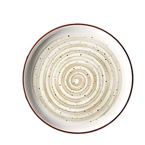 Plato 20/25.2cm Plato Occidental de cerámica Plato de Carne Plato de Desayuno Vajilla para el hogar Plato Plato Plato de Pastel Plato de Ensalada (Color: Beige, tamaño: 25.2cm) zzyyllyz