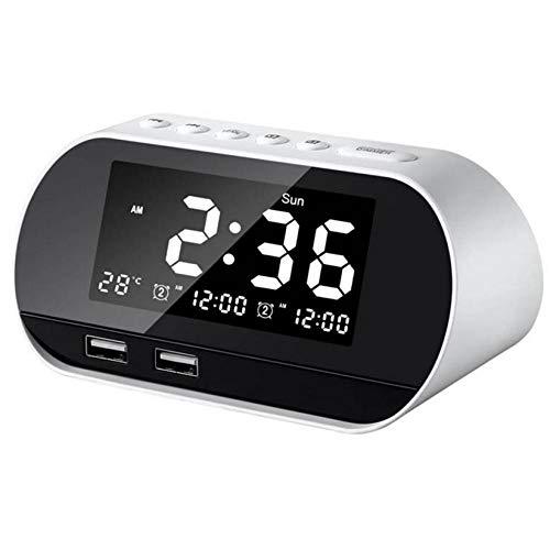 ZYZYY Hoofdwekker voor de slaapkamer, gestuurde digitale wekkerradio met FM-radio, dubbele USB-poort voor oplader, dimmer snooze slaaptimer