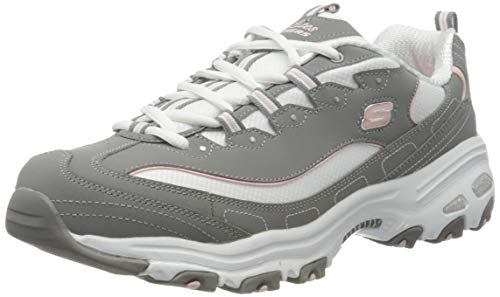 Skechers D'LITES-BIGGEST FAN, Women's Trainers, Grey (Gray Trubuck/White Mesh/Lt Pink Trim Gyw), 3  (36 EU)