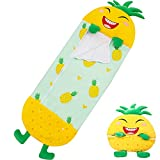 """RiscaWin Kids Flannel Sleeping Bag with Pillow Toddler Nap Mat and Wearable Blanket for Boys or Girls Preschool Daycare (Pineapple, 54"""" x 20"""")"""