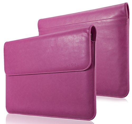 Kuzy MacBook Pro 13 inch Sleeve Leather, 13 inch Laptop Sleeve Case for MacBook Air 13 inch Sleeve Case Cover (New Version) PU Leather Laptop Sleeve, Pink