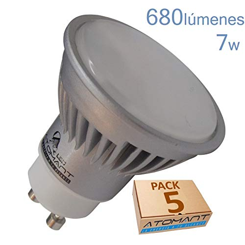 Pack 5x GU10 LED 7w. Color Blanco calido (3000k). Angulo 120 grados. 680 Lumenes. A++