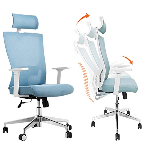 Ergonomic Office Chair Adjustable High Back Chair with Flexible Headrest & 140°Reclining Lumbar Support Mesh Computer Chair for Office Home (Blue)