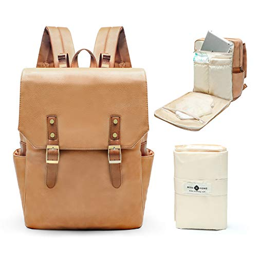 Leather Diaper Bag Backpack by miss fong, Travel Backpack Bookbag Maternity Bag with Chaning Pad, Fit in 14/15.6 Inch Computer Business Backpacks for Women Men(Brown)