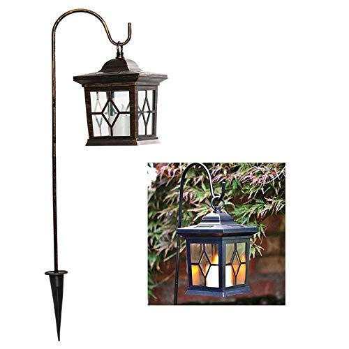esto24® LED Solar Laterne Vintage incl. Metallstange zum Aufhängen Kerze mit Flammeneffekt und 4 Solarzellen mit Dämmerungsautomatik für Terrasse, Garten oder Wegbeleuchtung Deko (Vintage)